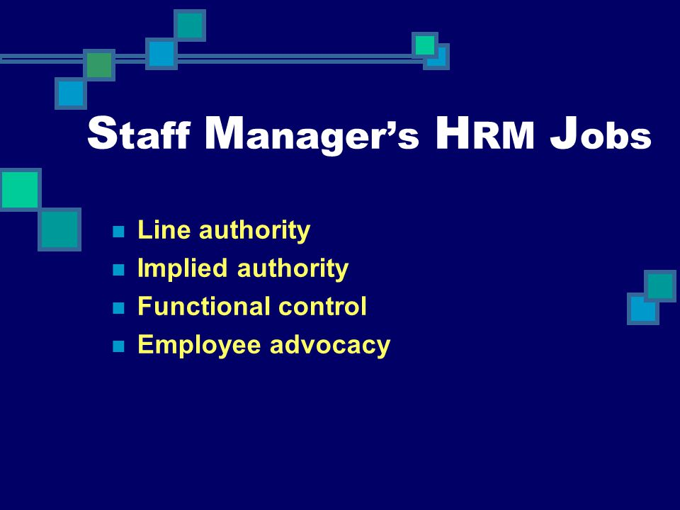 Staff Manager's HRM Jobs