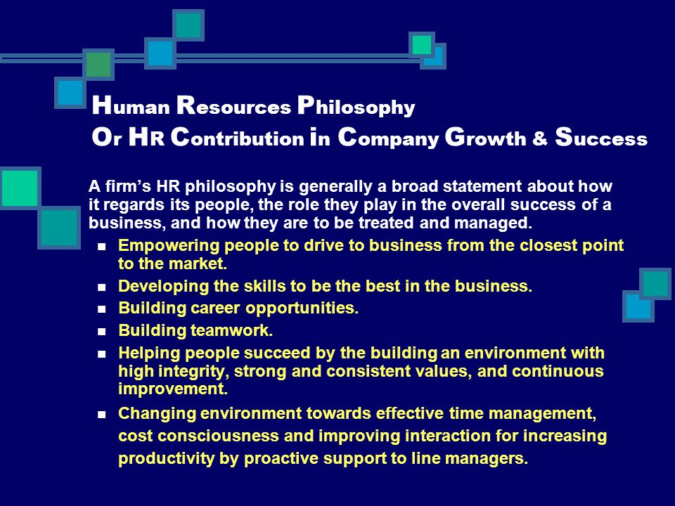 Human Resources Philosophy Or HR Contribution in Company Growth & Success