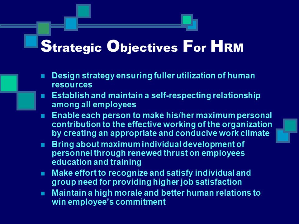 Strategic Objectives For HRM