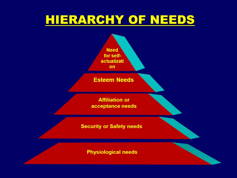 HIERARCHY OF NEEDS Esteem Needs Affiliation or acceptance needs