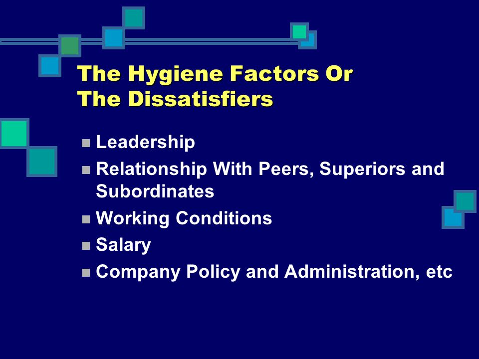 The Hygiene Factors Or The Dissatisfiers