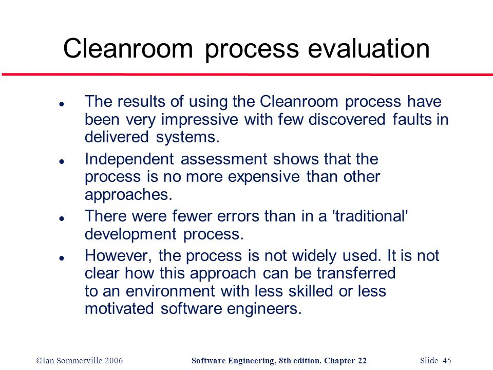 Cleanroom process evaluation