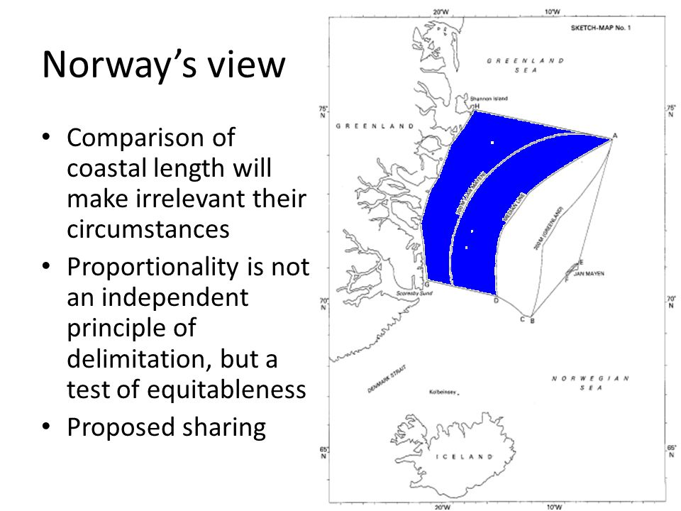 Norway's view Comparison of coastal length will make irrelevant their circumstances.