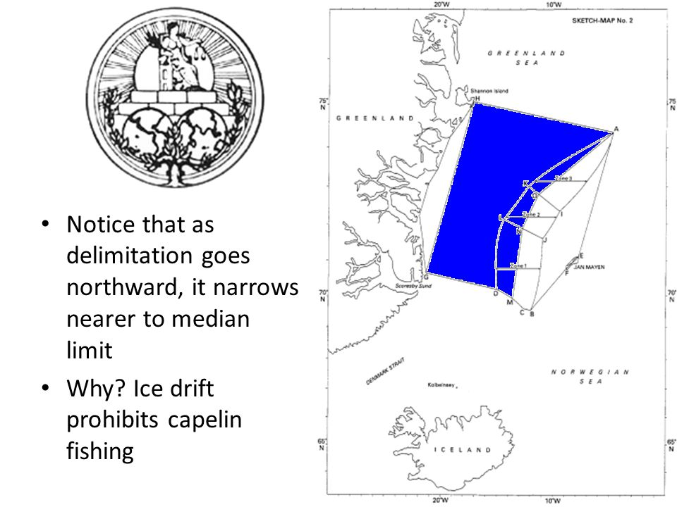 Notice that as delimitation goes northward, it narrows nearer to median limit