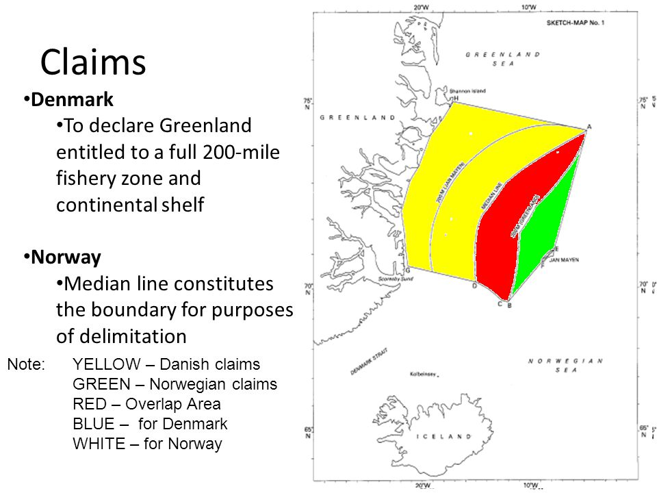 Claims Denmark. To declare Greenland entitled to a full 200-mile fishery zone and continental shelf.