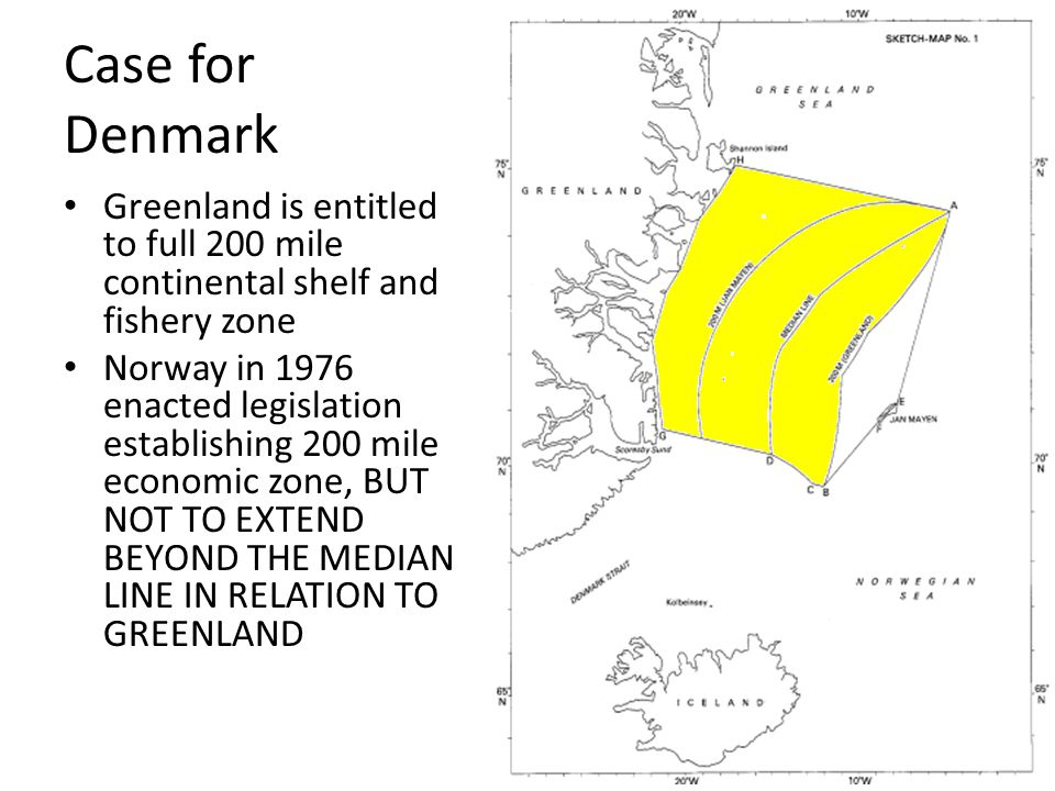 Case for Denmark Greenland is entitled to full 200 mile continental shelf and fishery zone.