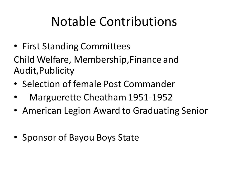 Notable Contributions