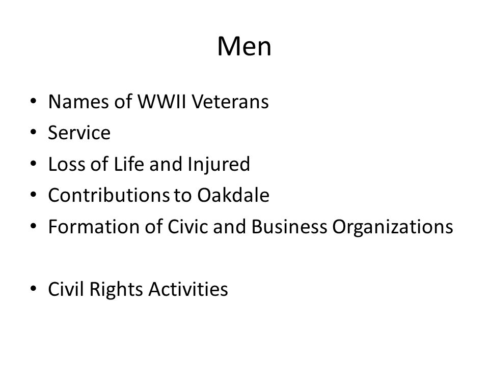 Men Names of WWII Veterans Service Loss of Life and Injured