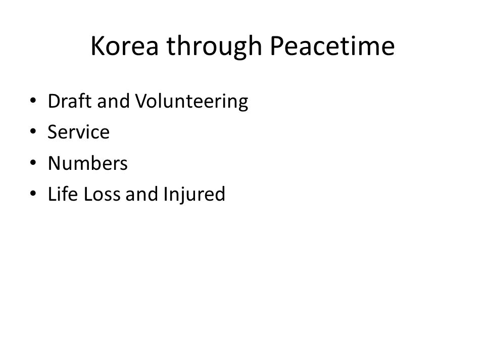 Korea through Peacetime