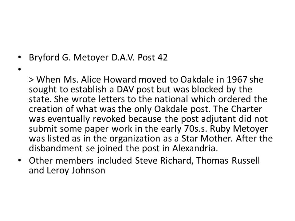 Bryford G. Metoyer D.A.V. Post 42