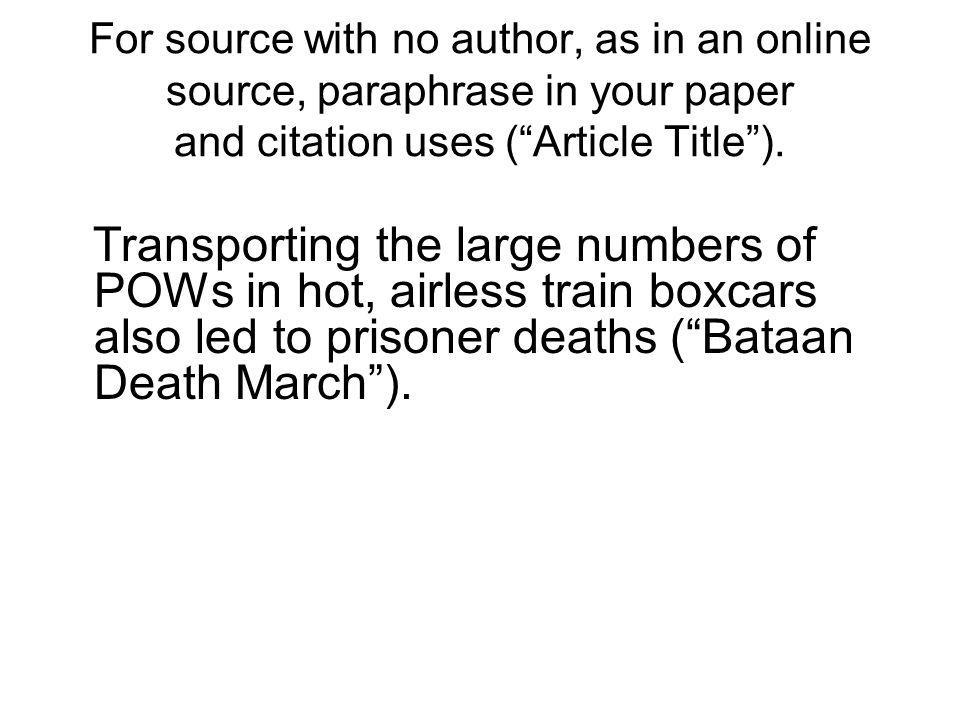 For source with no author, as in an online source, paraphrase in your paper and citation uses ( Article Title ).