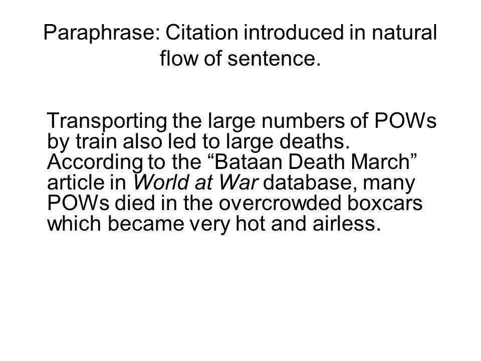 Paraphrase: Citation introduced in natural flow of sentence.