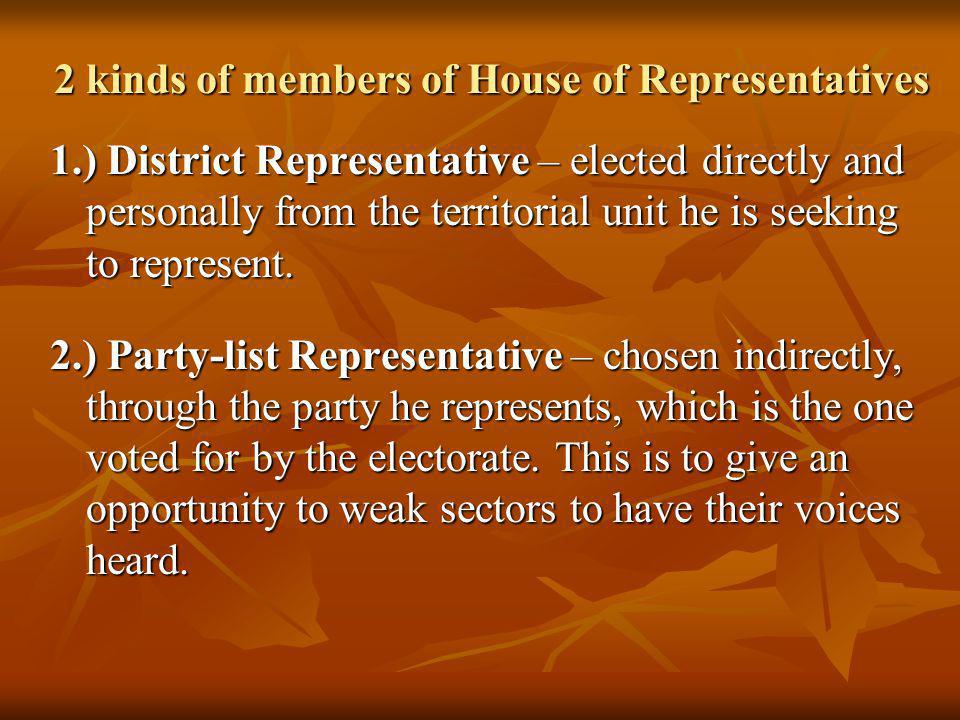 2 kinds of members of House of Representatives
