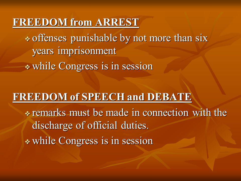 FREEDOM from ARREST offenses punishable by not more than six years imprisonment. while Congress is in session.
