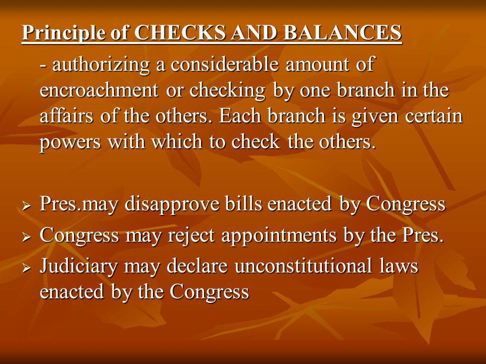 Principle of CHECKS AND BALANCES