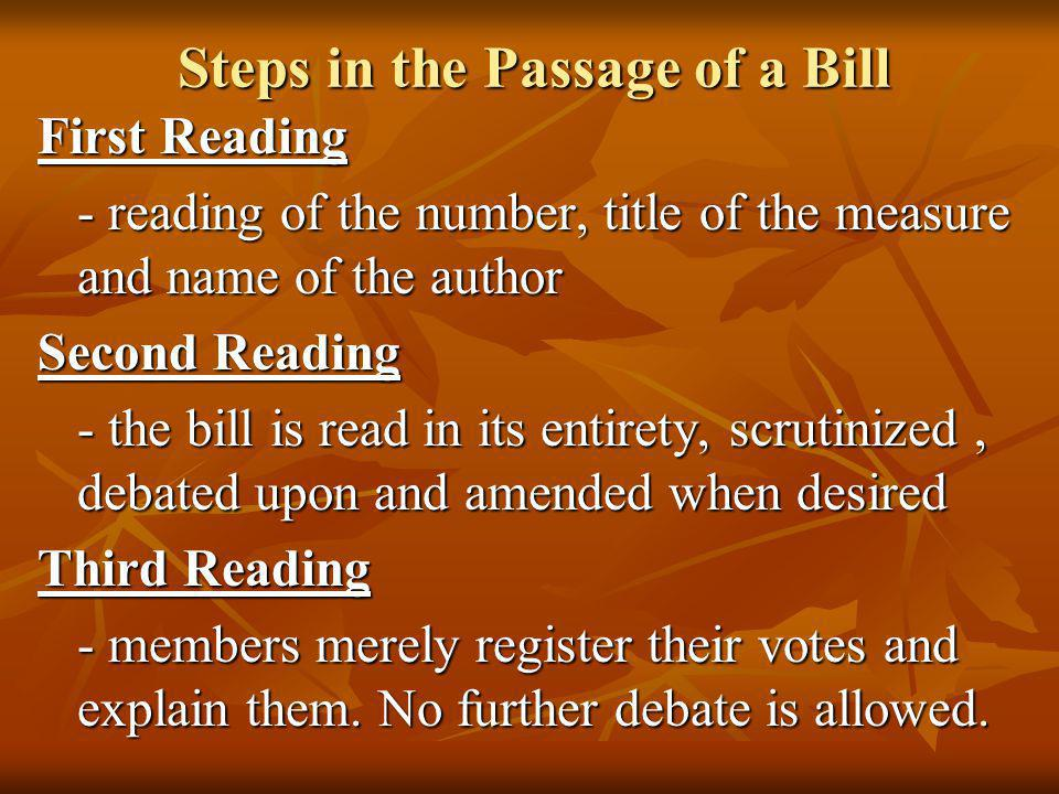 Steps in the Passage of a Bill