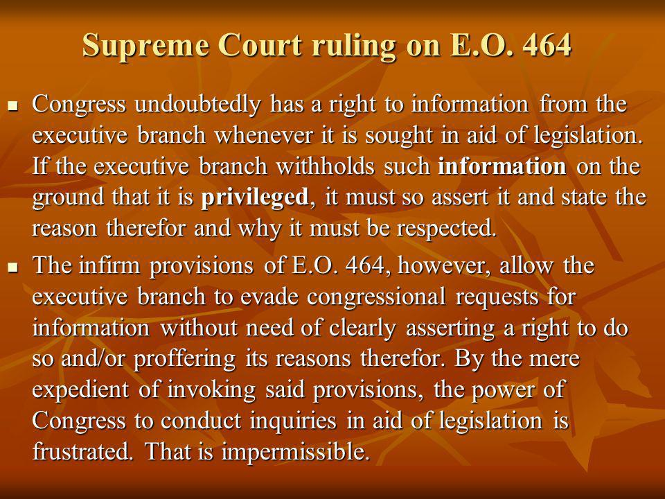 Supreme Court ruling on E.O. 464