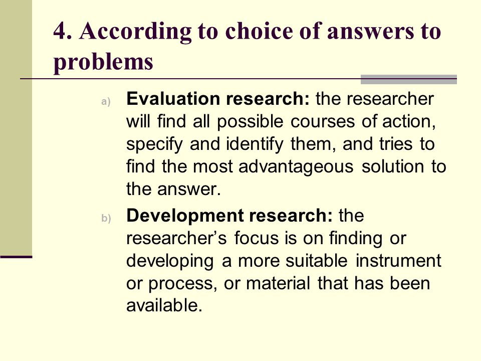 4. According to choice of answers to problems