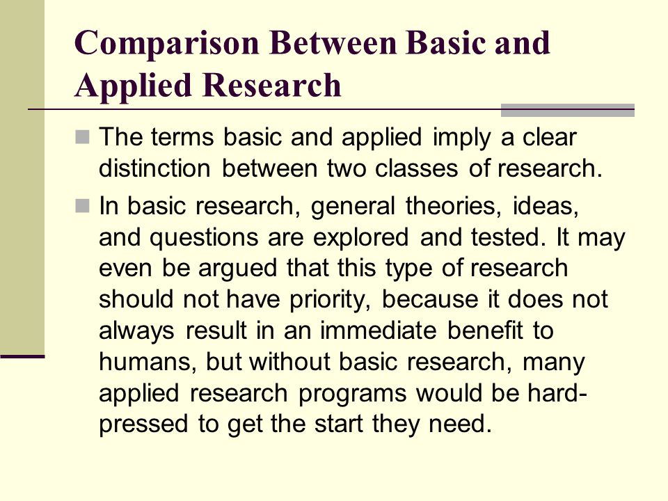 Comparison Between Basic and Applied Research