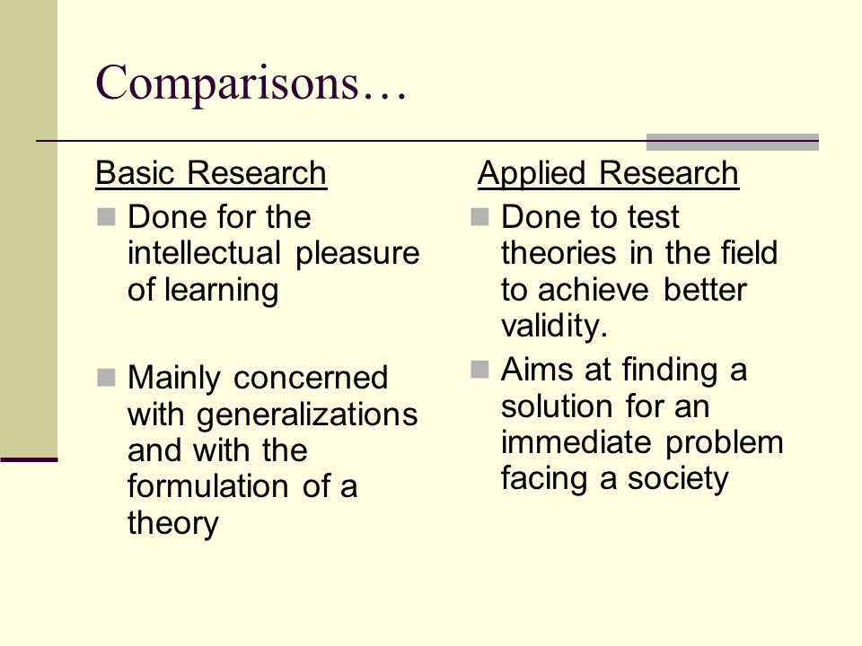 Comparisons… Basic Research
