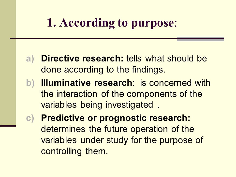 1. According to purpose: Directive research: tells what should be done according to the findings.
