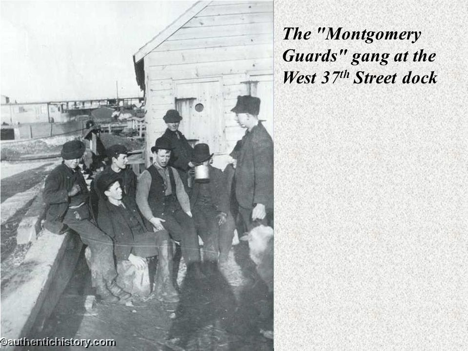 The Montgomery Guards gang at the West 37th Street dock