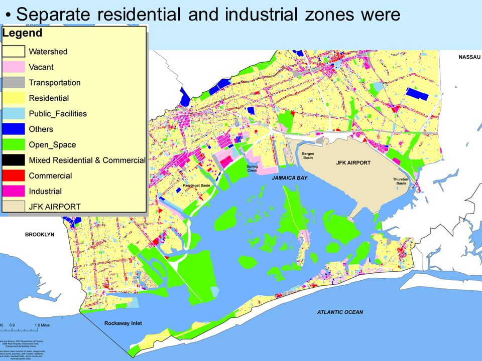 Separate residential and industrial zones were developed.