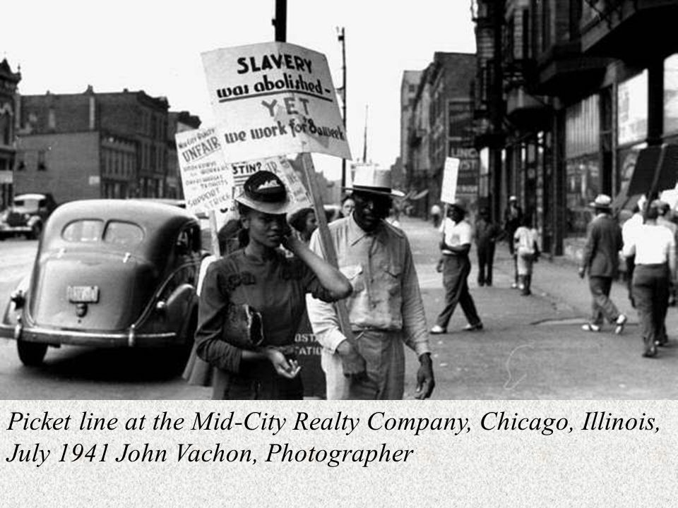 Picket line at the Mid-City Realty Company, Chicago, Illinois, July 1941 John Vachon, Photographer