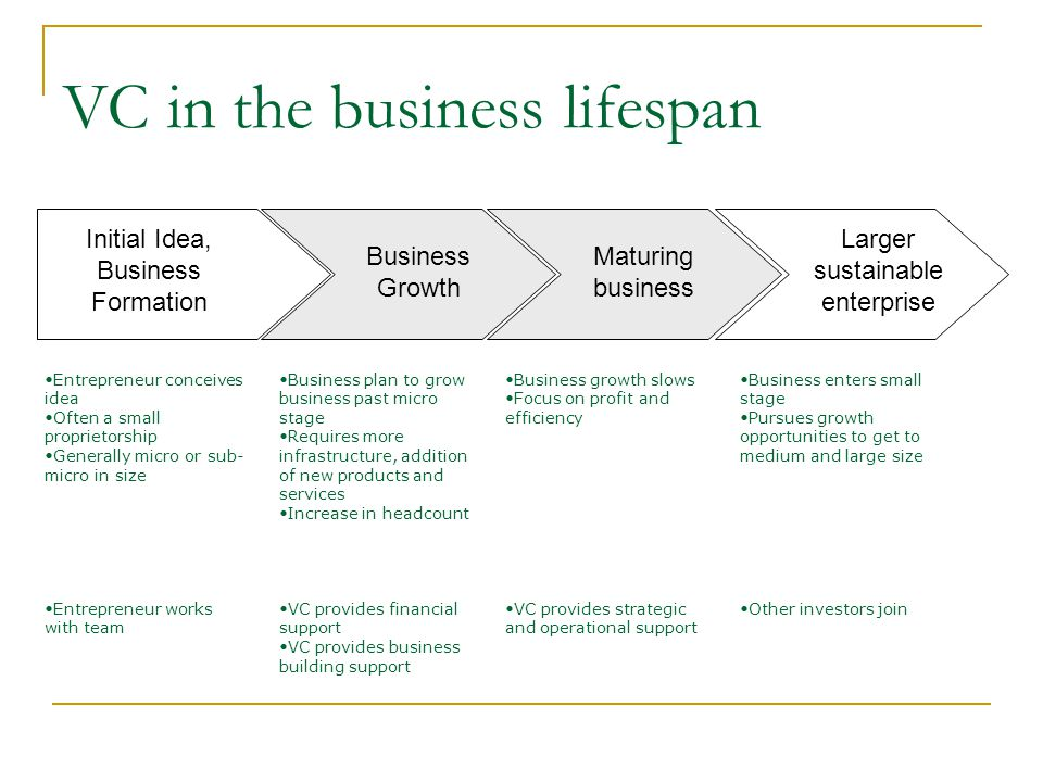VC in the business lifespan
