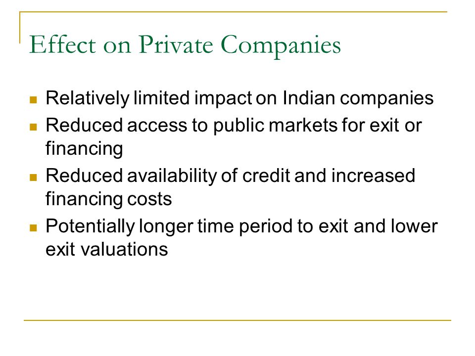 Effect on Private Companies