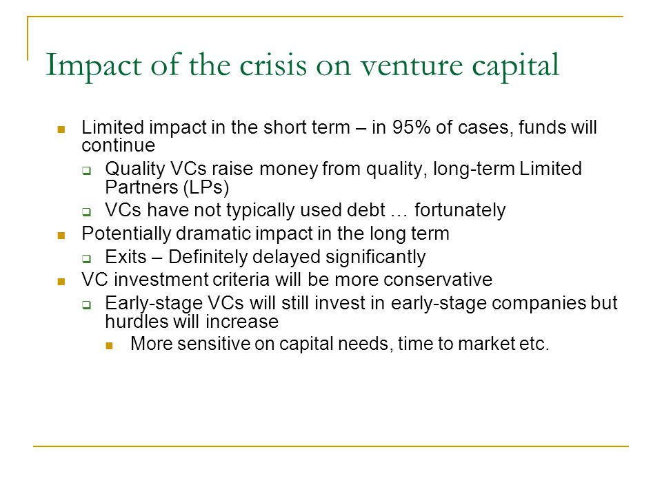 Impact of the crisis on venture capital