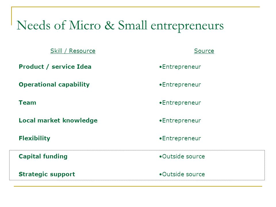 Needs of Micro & Small entrepreneurs