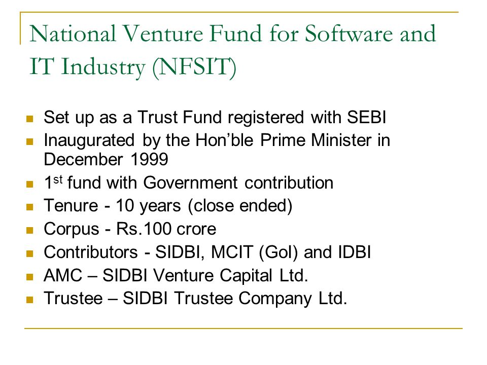 National Venture Fund for Software and IT Industry (NFSIT)
