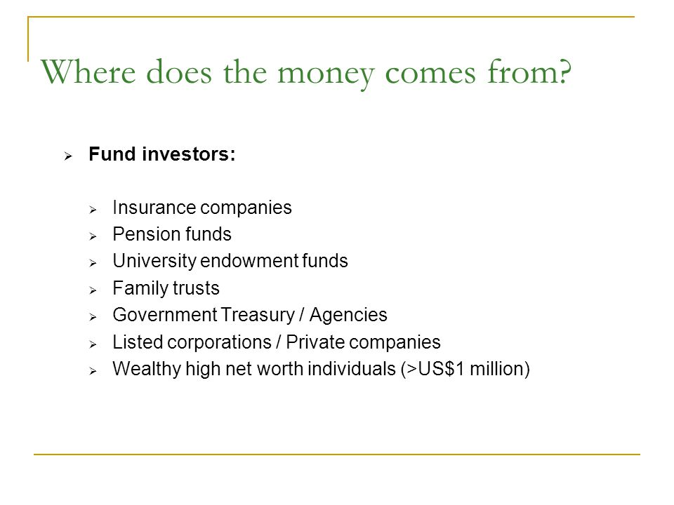 Where does the money comes from