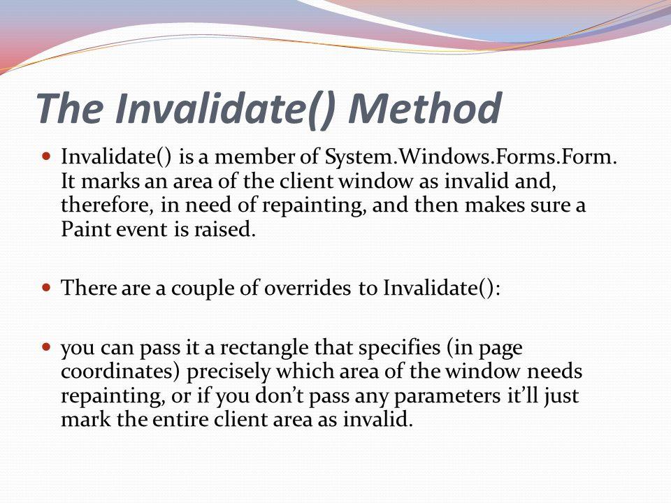 The Invalidate() Method