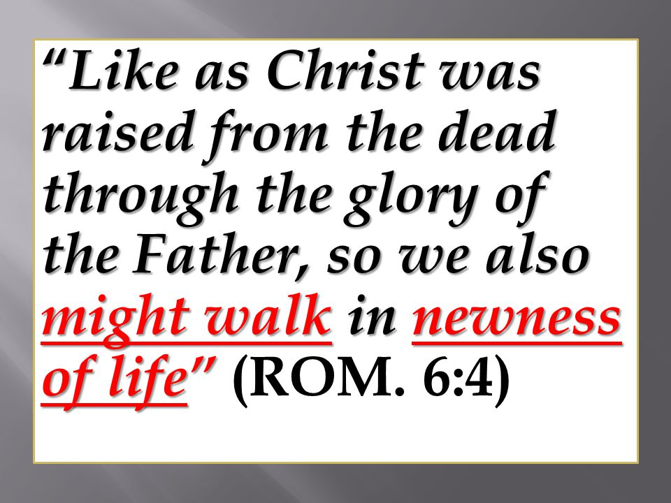 Like as Christ was raised from the dead through the glory of the Father, so we also might walk in newness of life (ROM.