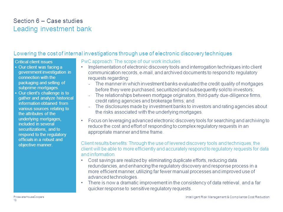 Section 6 – Case studies Leading investment bank
