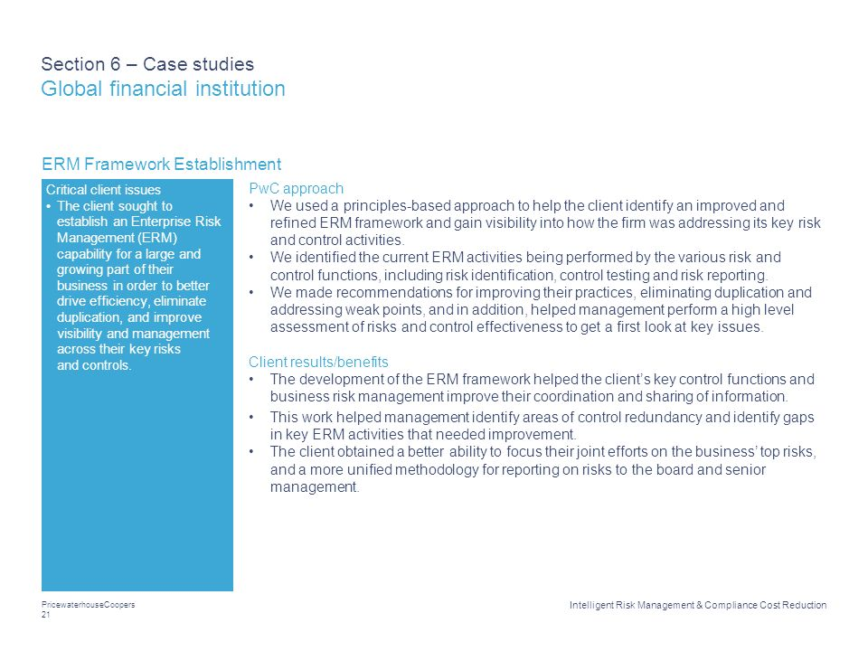 Section 6 – Case studies Global financial institution