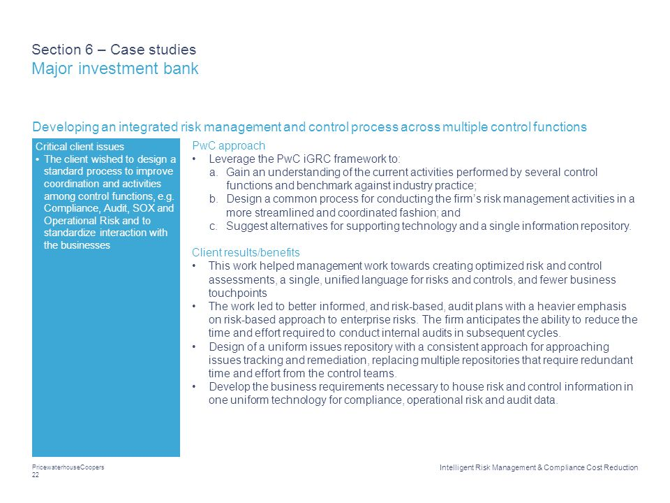 Section 6 – Case studies Major investment bank
