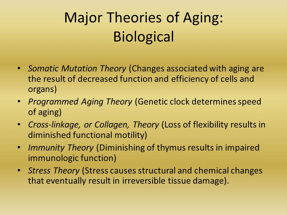 how do the major theories of Theories and effects of aging by mark studies have demonstrated that genetics can play a major role what's the 'rate of living' aging theory, and does it.