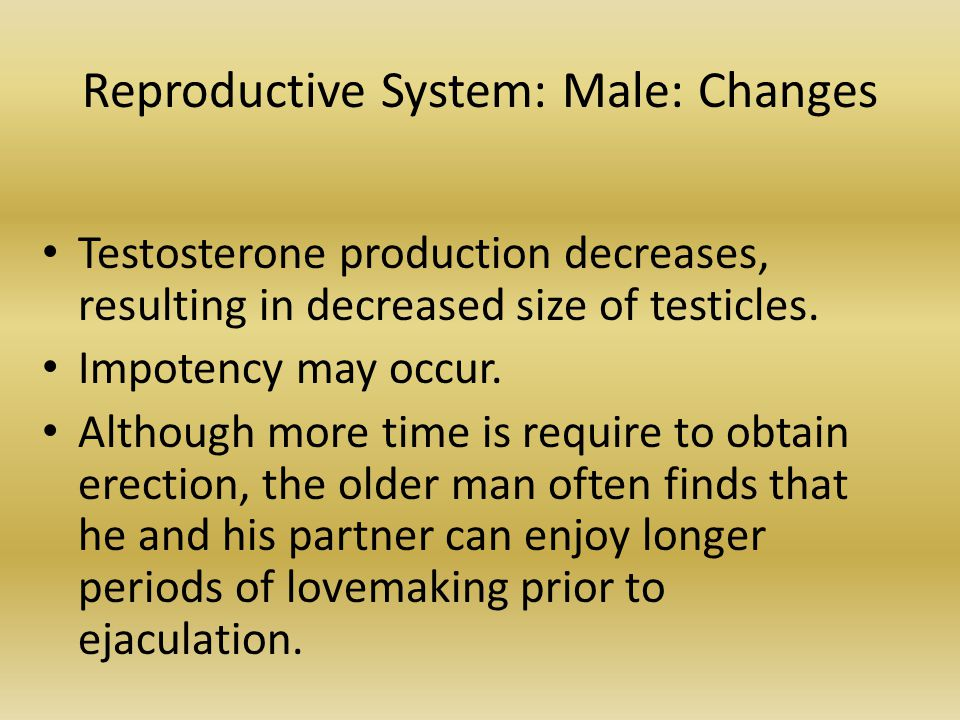 Reproductive System: Male: Changes