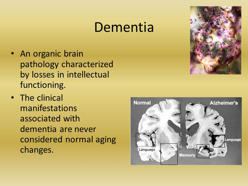 Dementia An organic brain pathology characterized by losses in intellectual functioning.