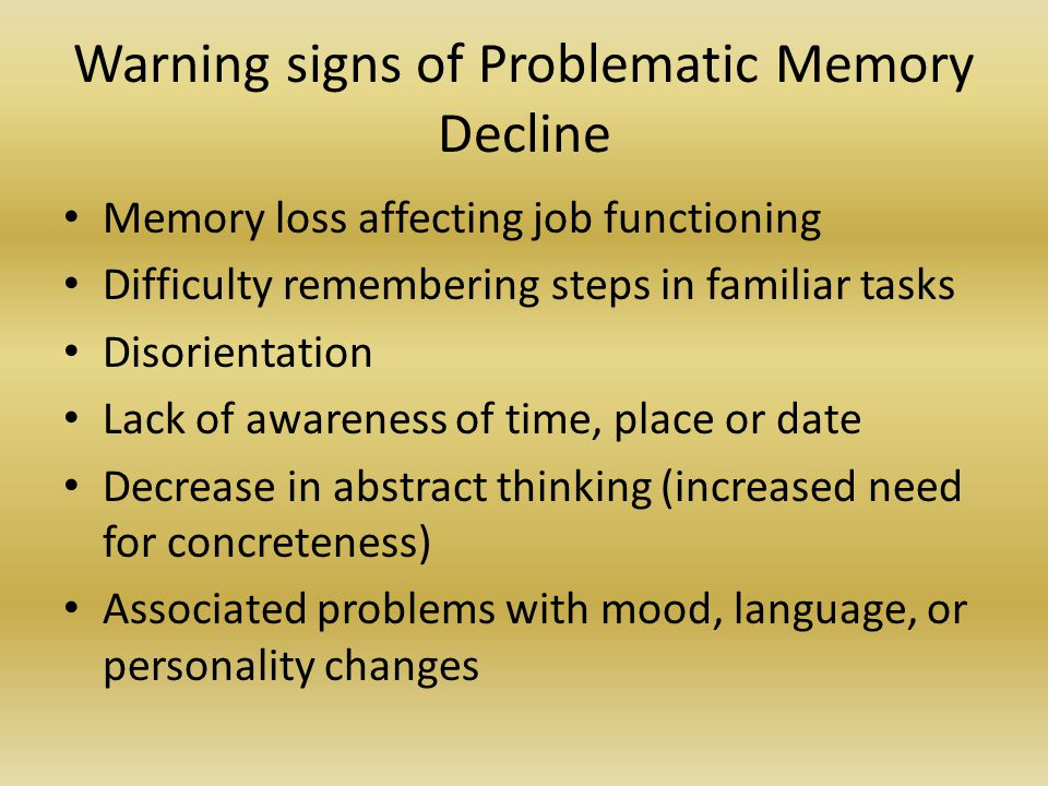 Warning signs of Problematic Memory Decline