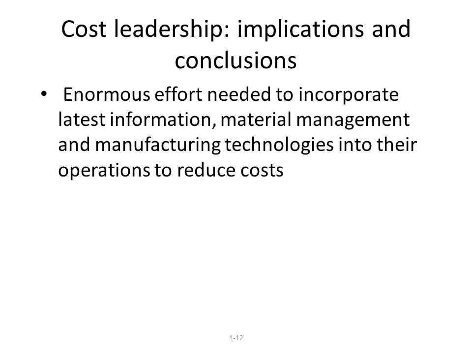 Cost leadership: implications and conclusions