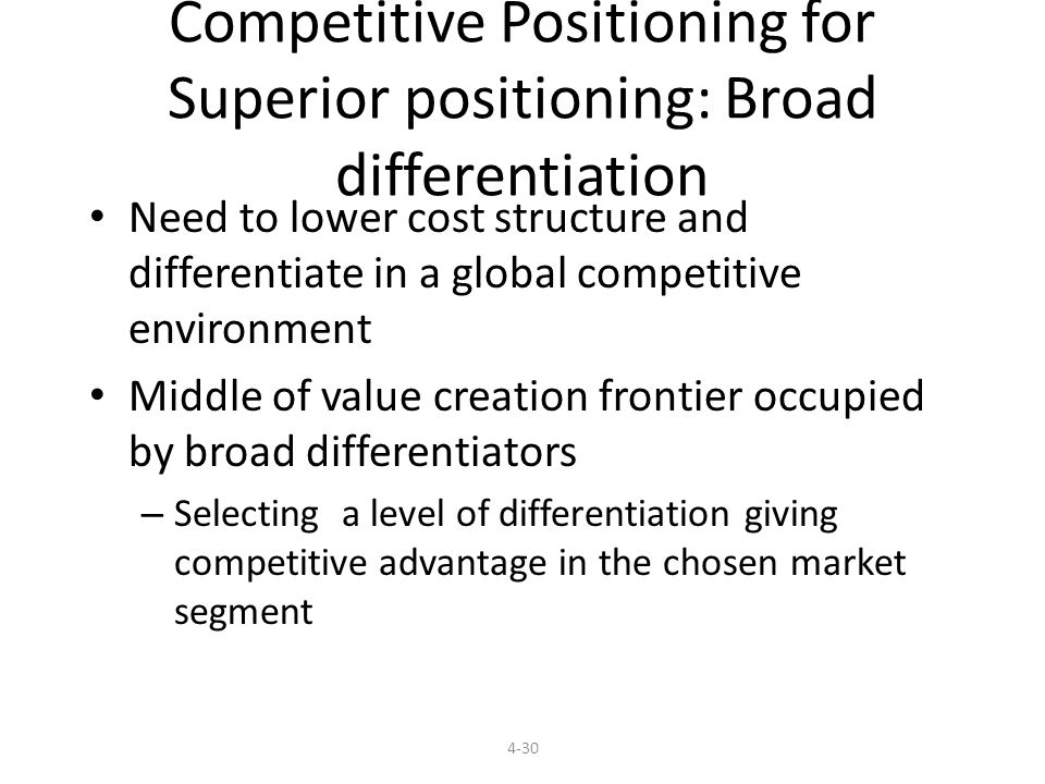 Competitive Positioning for Superior positioning: Broad differentiation