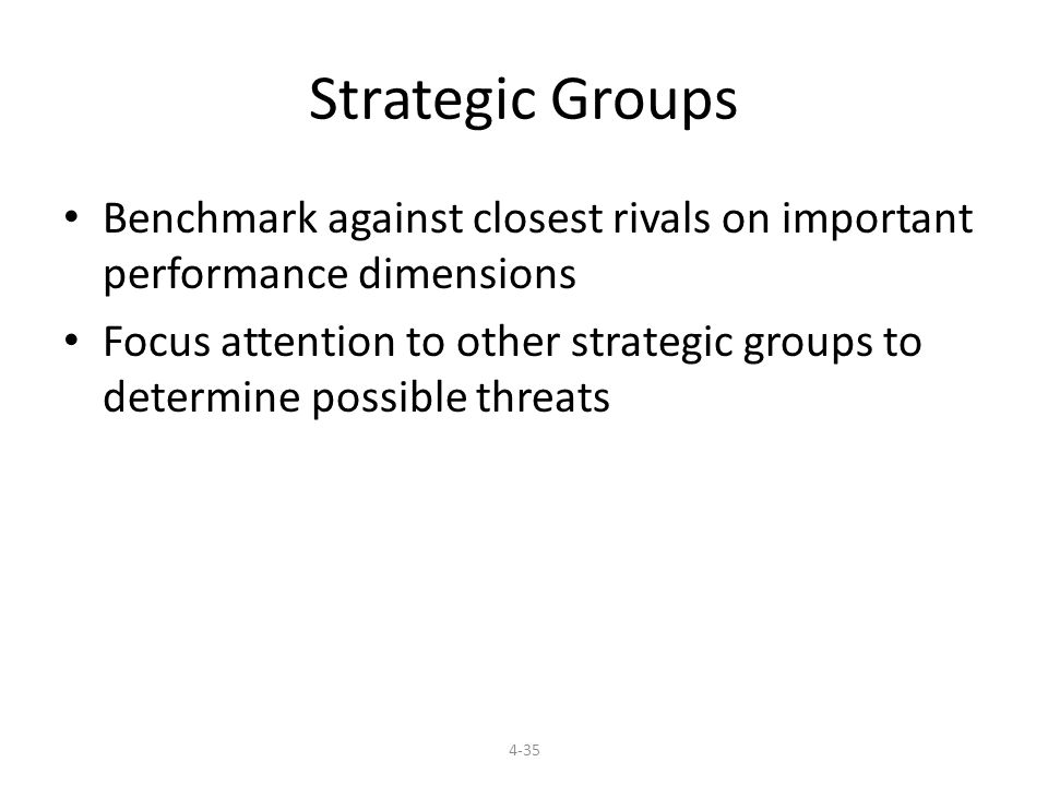 Strategic Groups Benchmark against closest rivals on important performance dimensions.