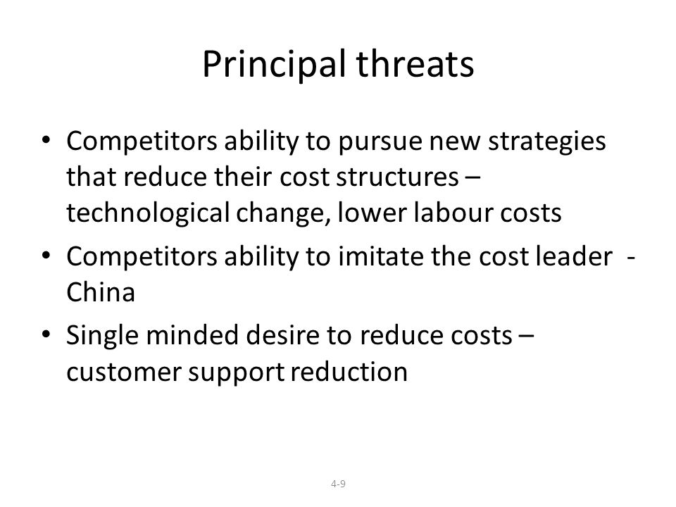Principal threats Competitors ability to pursue new strategies that reduce their cost structures – technological change, lower labour costs.