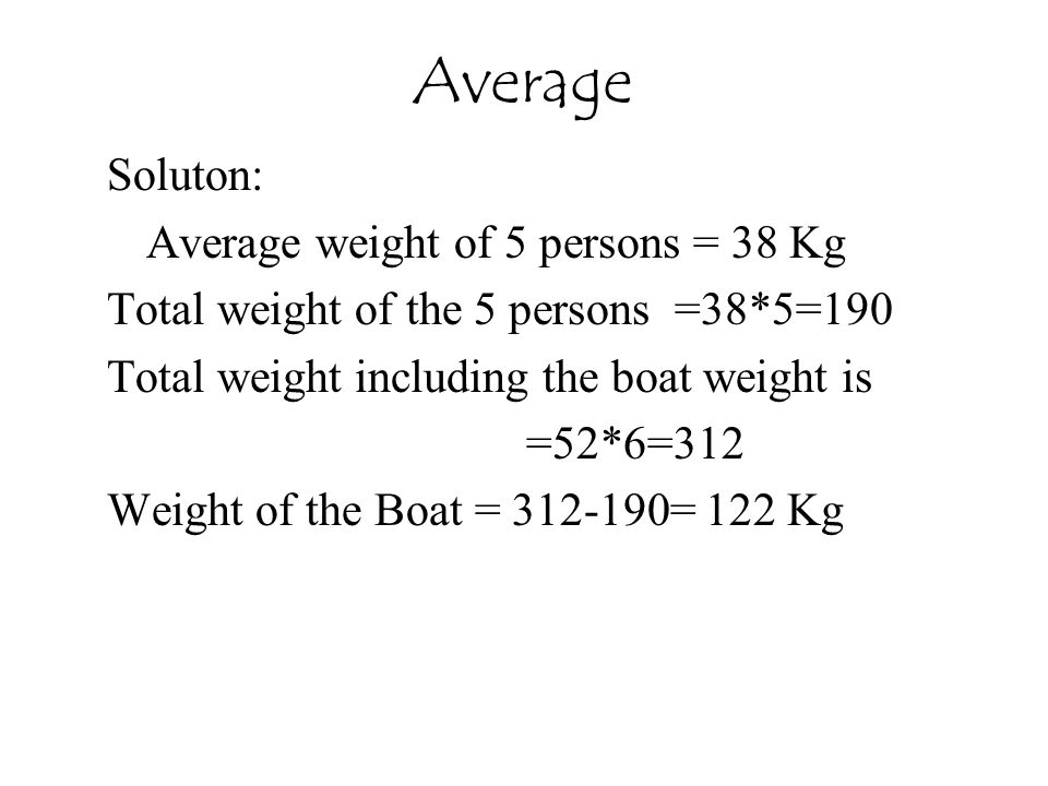 Average Soluton: Average weight of 5 persons = 38 Kg