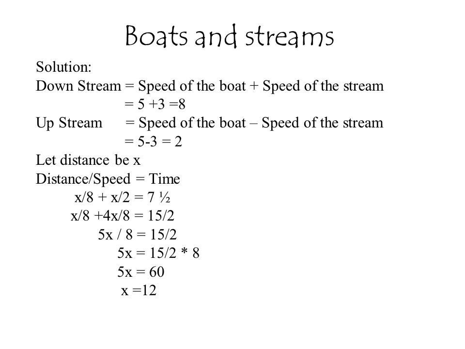 Boats and streams Solution: