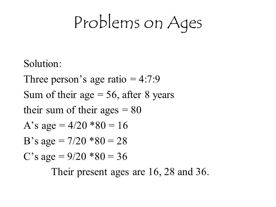 Problems on Ages Solution: Three person's age ratio = 4:7:9
